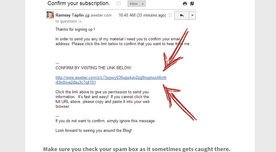 Email Confirmation from blogtyrant.com
