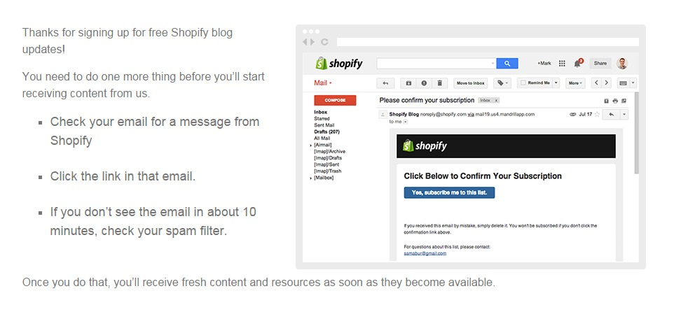 Shopify-confirmation-page