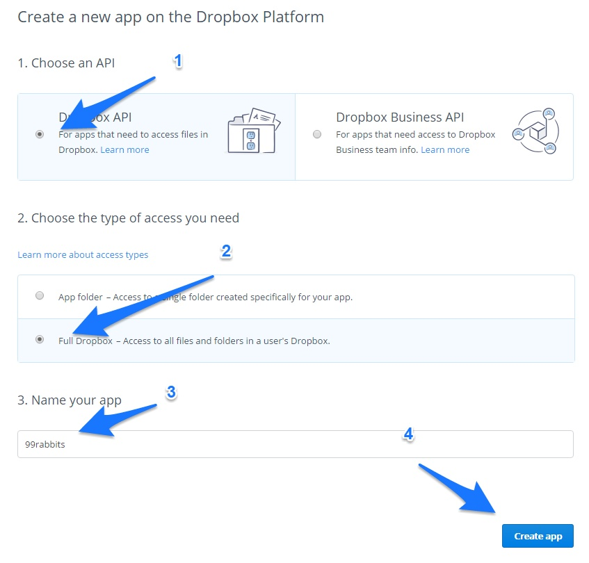 Dropbox API token
